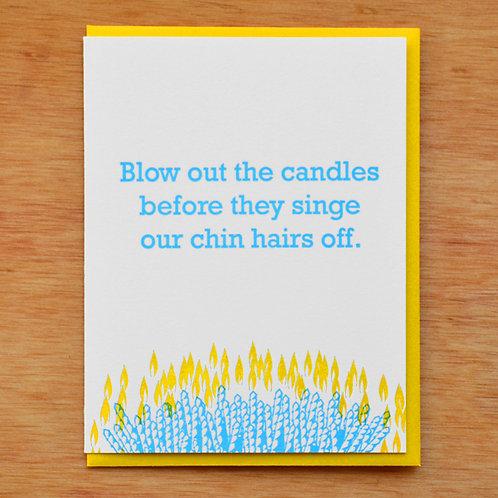 Singe Chin Hairs Greeting Card