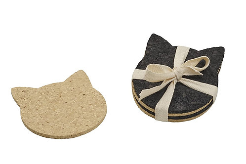 Recycled Rubber Cat Head Coaster Set
