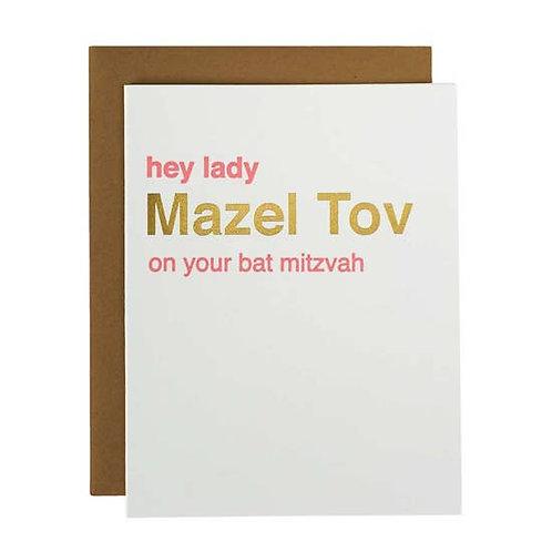 Mazel Tov On Bat Mitzvah Greeting Card