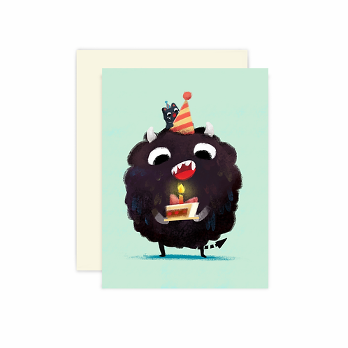 Monster and Cat Greeting Card