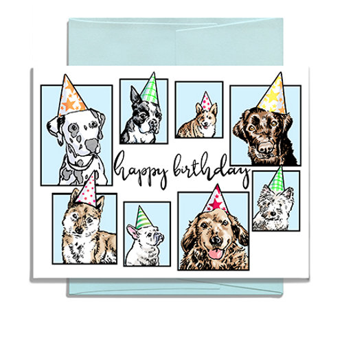 Happy Birthday Dogs in Hats Greeting Card