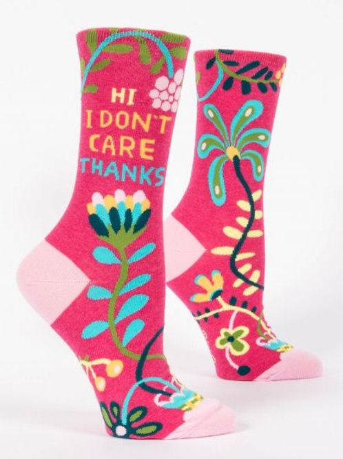 Women's Hi I Don't Care, Thanks Crew Sock