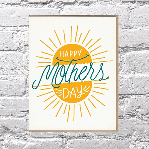 Happy Mother's Day Sunburst Greeting Card