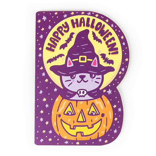 Happy Halloween Cat and Pumpkin Greeting Card