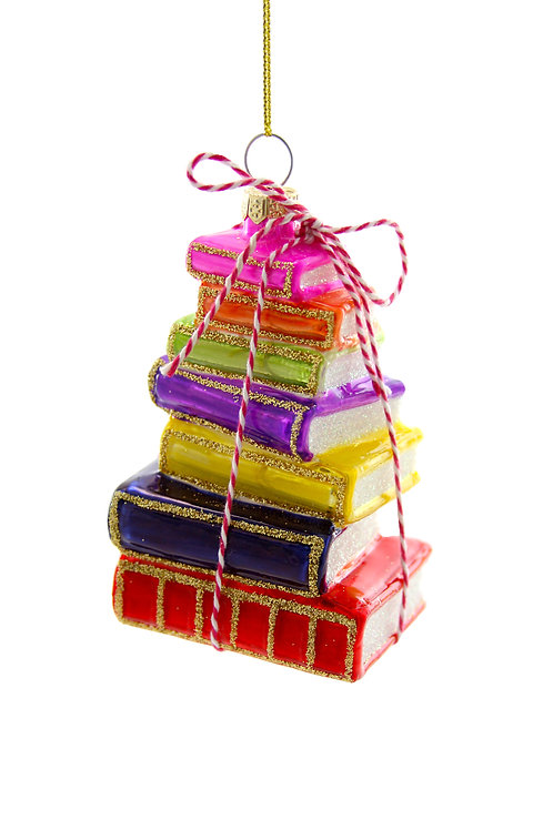 Stacked Tomes Glass Ornament