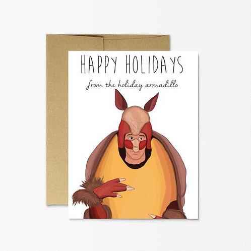 Happy Holidays Armadillo Greeting Card