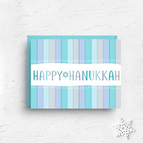 Happy Hanukkah Blue Stripes Greeting Card