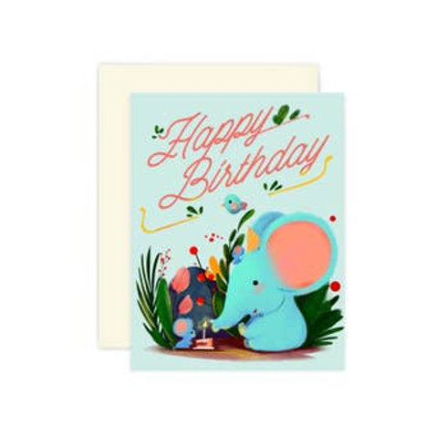 Happy Birthday Elephant and Friends Greeting Card