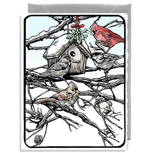 Birdhouse In Snow Greeting Card