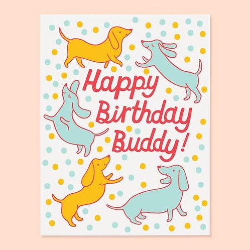 Happy Birthday Buddy Greeting Card