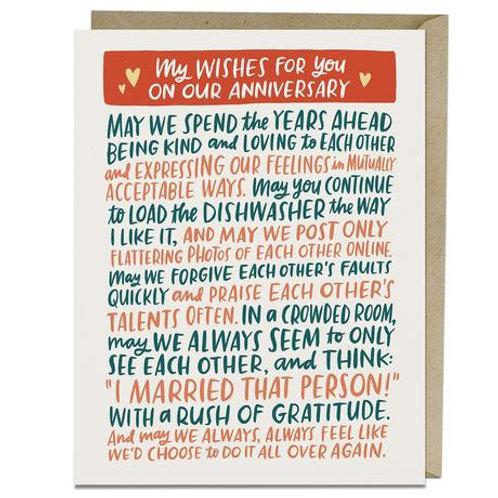 My Wishes Anniversary Greeting Card