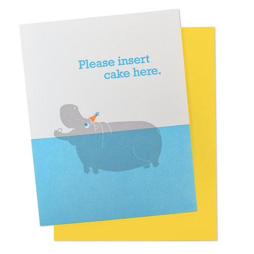 Please Insert Here Birthday Hippo Greeting Card