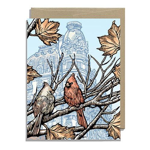 Autumn Cardinals Greeting Card