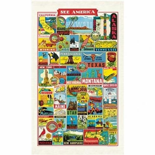 See America Vintage Tea Towel