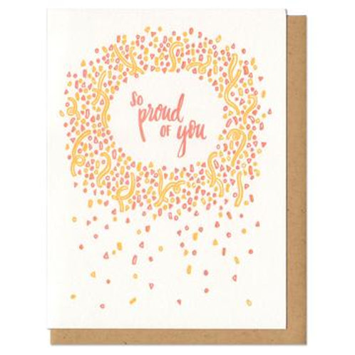 So Proud of You Yellow Magenta Greeting Card