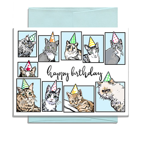 Happy Birthday Cats in Hats Greeting Card