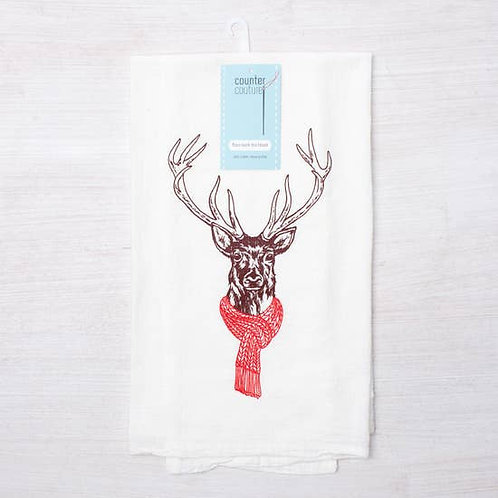 Antlers with Scarf Tea Towel