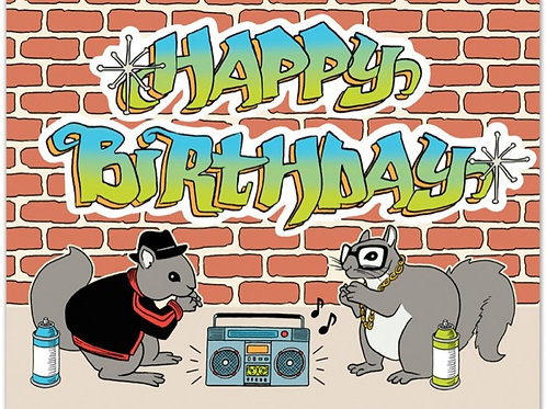 Happy Birthday Hip Hop Squirrels Greeting Card