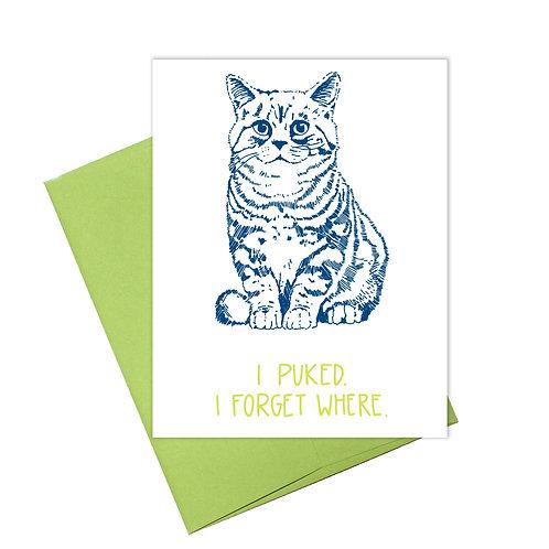 Cat Puke Greeting Card