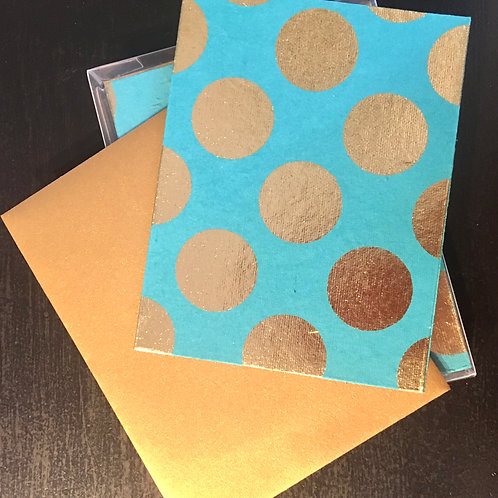 Gold Dots Peacock Cards & Envelopes