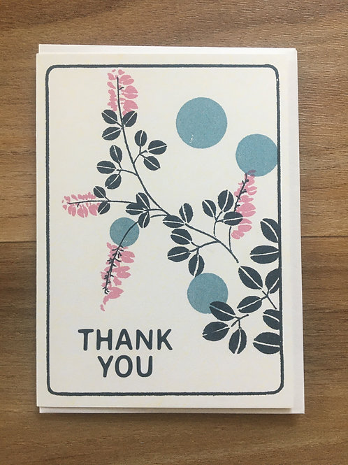 Thank You Floral Dots Greeting Card