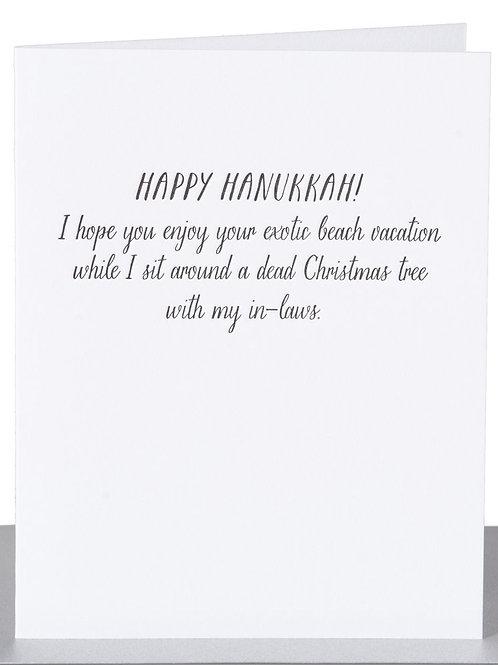Happy Hanukkah Exotic Beach Vacation Greeting Card