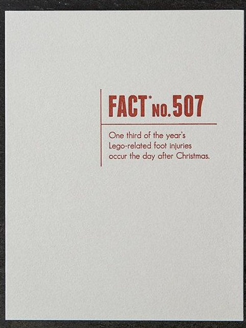 Fact 507. Lego Related Foot Injuries Greeting Card
