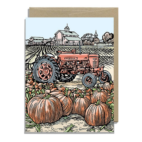 Tractor and Pumpkins Greeting Card
