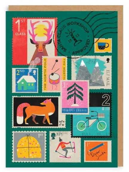 Vintage Stamps Greeting Card