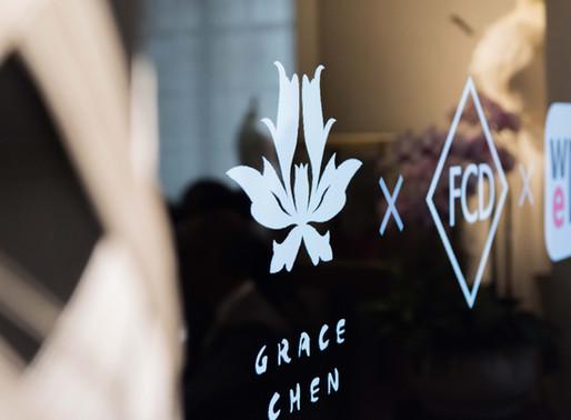 Simon Collins gave a speech on Grace Chen's fashion salon