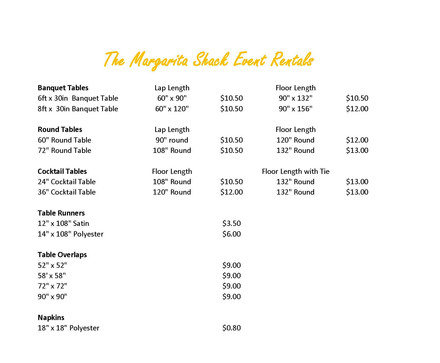 Linen sizes and prices