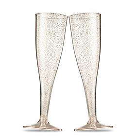 Plastic Glitter Champagne Flutes 5oz