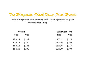 Dance Floor Sizes and Prices