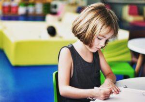 girl working on her homework
