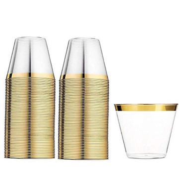 9oz Cocktail Cups Gold Rim 100ct.