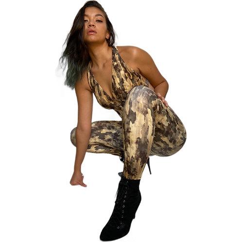 Tan Army Camo Jumpsuit
