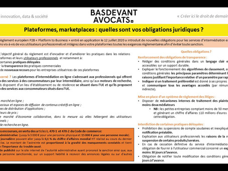 KDS #XVI. Les obligations du règlement Platform-to-Business