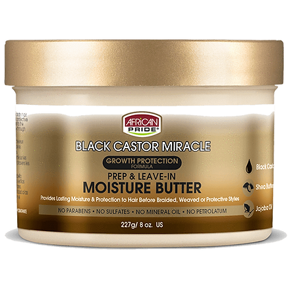 African Pride Black Castor Miracle Leave In Moisture Butter 8oz