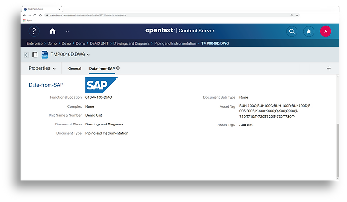 A browser window featuring an open drawing folder in OpenText Content Server and data relating to the drawing is being accessed from SAP.