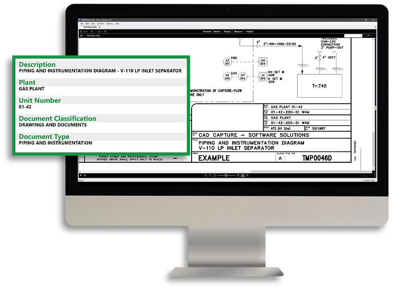 A large image of a desktop with a CAD drawing open and a browser window hovering in front of it featuring the indexing data related to the drawing.