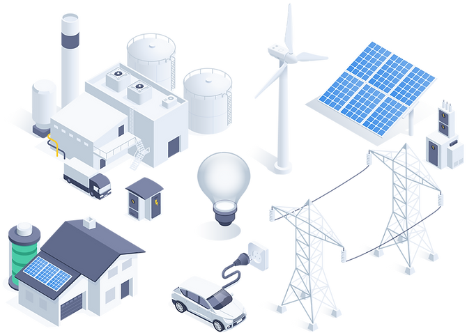 Vector image representing the different areas of renewable energy.