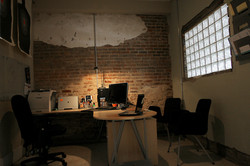 an office in the basement