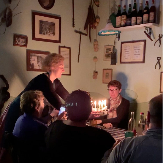La Carabaccia Restaurant in Tuscany presenting a special birthday with a glowing Celebration Stadium