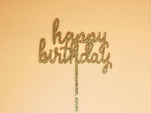 """Stadium Topper """"Happy Birthday"""" Gold Glitter"""