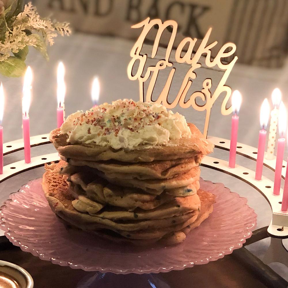 "Pancake birthday breakfast ""make a wish"" cake topper"