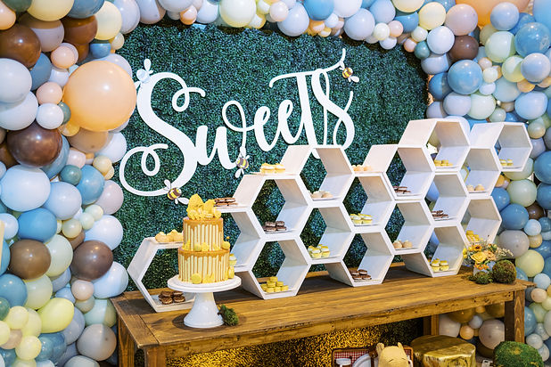 Baby Shower Cake and Macaron Display