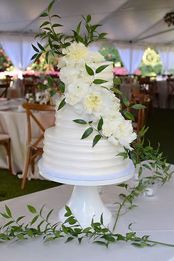 White Striped Buttercream Wedding Cake.J