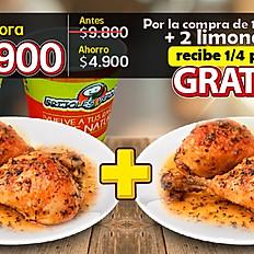 Hoy $4.950 (pollo 1/4) + 2 Bebidas: lleva gratis el segundo cuarto