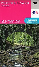 Penrith & Keswick Ambleside OS Landranger Map 90