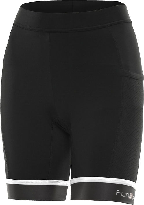 Funkier Abara Ladies 11 Panel Shorts (C13 Pad) in Black